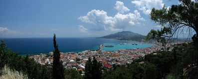 Panorama van Zakynthos, Eiland Zakynthos, Griekenland Stock Fotografie