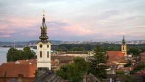 Panorama van Zemun-stad, Belgrado, Servië Royalty-vrije Stock Foto
