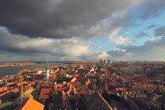 Panorama van Zemun-stad, Belgrado, Servië Stock Afbeelding