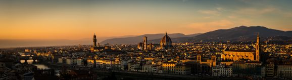 Panorama van zonsondergang in Florence van Michelangelo Square Royalty-vrije Stock Fotografie