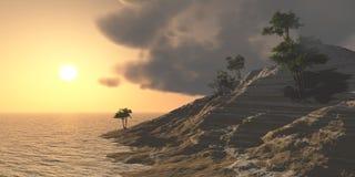 Panorama van zonsondergang op het overzees Eiland Zeegezicht palmen royalty-vrije stock fotografie