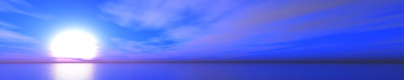 Panorama van zonsondergang op het overzees Zeegezicht stock foto