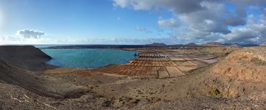 Panorama van zoute raffinaderij. Salinas del Janubio. Stock Fotografie
