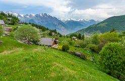 Panorama van Zwitsers dorp Stock Foto's