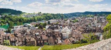 Panorama van Zwitserse stad Schaffhausen Rivier Rijn royalty-vrije stock afbeelding