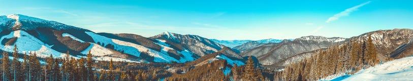 Panorama vanaf bovenkant van Chopok-berg bij Jasna Nizke Tatry-toevluchtgebied, Slowakije Stock Fotografie
