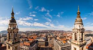 Panorama vanaf de bovenkant van de St Stephen Basiliek in Boedapest, Hongarije stock foto's