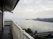 Panorama vanaf de bovenkant van Kitsuki-kasteel - de prefectuur van Oita, Japan stock fotografie