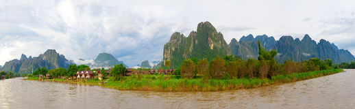 Panorama of Vang Vieng Stock Photography