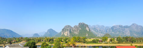 Panorama of Vang Vieng Stock Photos