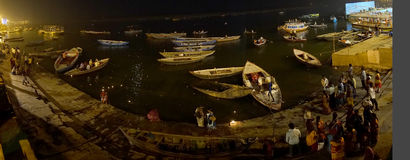 Panorama of Varanasi Ghats. Panoramic view of ghats in Varanasi, Uttar Pradesh, India. Hindus believe it will liberate them from the cycle of death and rebirth Stock Images