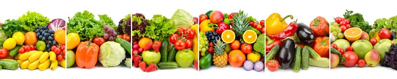 Panorama variety fresh fruits and vegetables  on white Royalty Free Stock Image
