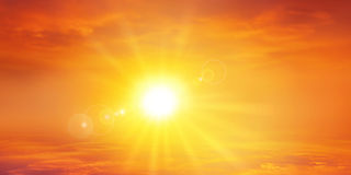 Panorama- varm solnedgång Fotografering för Bildbyråer