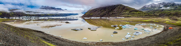Panorama of Vatnajokull glacier and lake Stock Images
