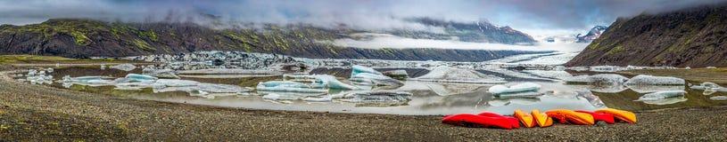 Panorama of Vatnajokull glacier and lake at sunrise in Iceland Stock Image