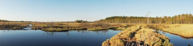 Panorama- vattenvägsikt Arkivfoton