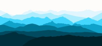 Panorama vector illustration of mountain ridges royalty free illustration