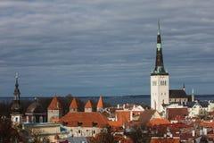 Panorama velho da cidade de Tallinn imagens de stock royalty free