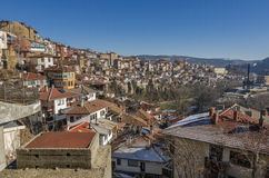 Panorama of Veliko Tarnovo in Bulgaria. Panorama of the houses built up the hill in the old town of Veliko Tarnovo Bulgaria Royalty Free Stock Photo