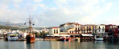 Panorama veneziano di Rethymno del porto Immagine Stock Libera da Diritti