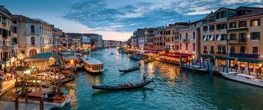 Panorama of Venice at night, Italy. Beautiful cityscape of Venice in evening. Panoramic view of Grand Canal at dusk. It is one of the main travel attractions stock photo