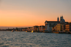 Panorama of Venice view at sunset from the sea. Royalty Free Stock Photography