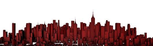 Panorama vermelho da cidade Fotos de Stock Royalty Free