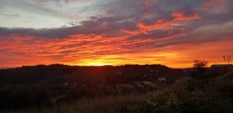 Panorama vermelho de Sicília do céu foto de stock