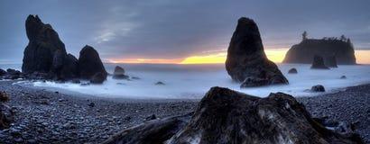 Panorama vermiglio della spiaggia Fotografia Stock