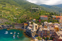 Panorama of Vernazza, Cinque Terre, Liguria, Italy Royalty Free Stock Photography