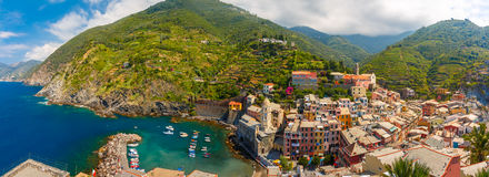 Panorama of Vernazza, Cinque Terre, Liguria, Italy. Aerial panoramic view of Vernazza fishing village in Five lands, Cinque Terre National Park, Liguria, Italy stock photography