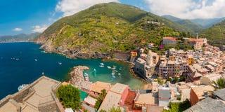 Panorama of Vernazza, Cinque Terre, Liguria, Italy Stock Images