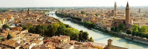 Panorama of Verona. Beautiful panoramic view of Verona and bridges Stock Photography
