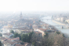 Panorama of Verona (Italy) in the fog. Stock Photography