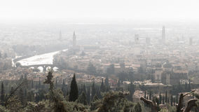Panorama of Verona (Italy) in the fog. Stock Photo