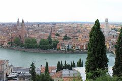 Panorama of Verona Italy with a view of the red roofs of the old town and the tower stock photos