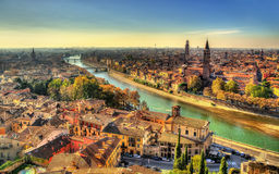 Panorama of Verona in the morning haze Stock Photos
