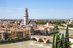 Panorama of Verona with view of the old dome and the roman bridg Stock Photos
