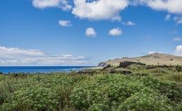Panorama verso il sito di Te Pito Kura fotografia stock