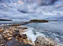 Panorama verticale nudo dell'oceano Fotografia Stock