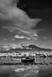 Panorama of Vesuvius b&w. Panorama of Vesuvius and moored fishing boats at Naples Royalty Free Stock Photography