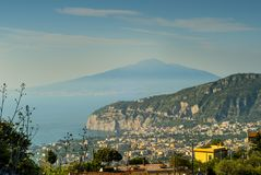 Panorama of the Vesuvius seen from Sorrento. Panorama of the Vesuvius from the top of Sorrento, on a day of vacation Royalty Free Stock Images
