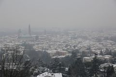 Panorama of the vicenza city in northern Italy during a snowfall. Wide Panorama of the vicenza city in northern Italy during a snowfall in winter Stock Image