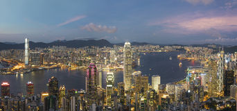 Panorama of Victoria Harbor of Hong Kong city Stock Image
