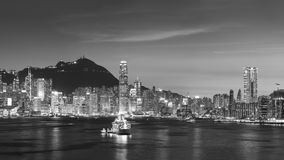 Victoria Harbor of Hong Kong city at dusk. Panorama of Victoria Harbor of Hong Kong city at dusk Stock Photo