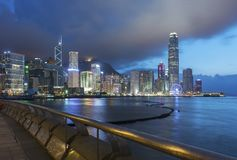 Victoria Harbor in Hong Kong at dusk. Panorama of Victoria Harbor in Hong Kong at dusk Stock Photos