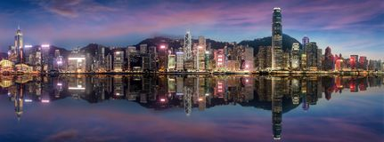 Panorama of Victoria Harbour just after sunset Royalty Free Stock Images