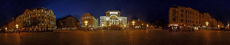 Panorama with Victory Square in Timisoara, Romania, illuminated Royalty Free Stock Photos
