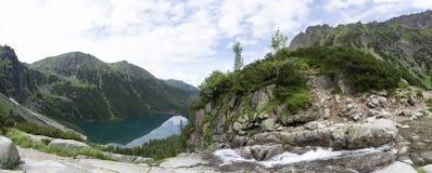 Panorama viem on Morskie Oko from the to the Czarny Staw, Tatra, Poland stock photos