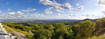 Panorama of Vienna and its Danube River Stock Photos